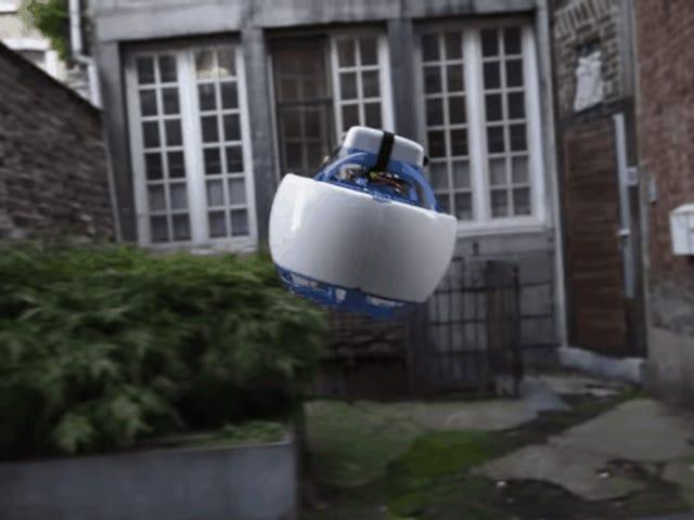 यह फ़ुटबॉल बॉल-साइज़्ड फ़्लाइंग रोबोट आपकी बोली लगाने के लिए पूरे शहर में घूमता है