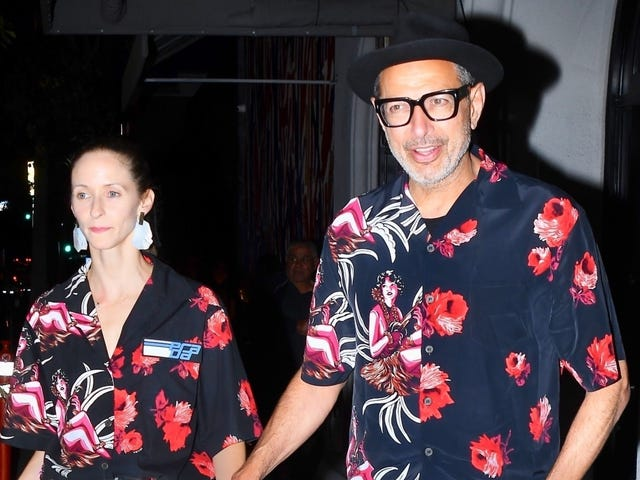 I Remain Puzzled by Jeff Goldblum and Emilie Livingston's Matching Date-Night Shirts