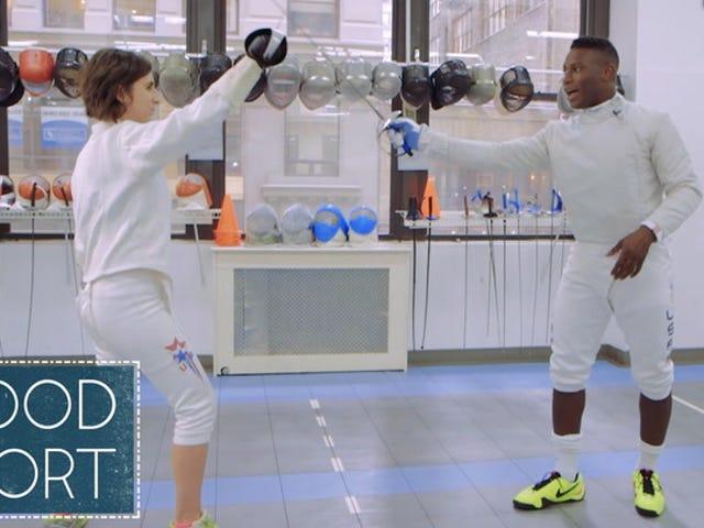 Ver el medallista de plata olímpico Daryl Homer School Us In Sabre Fencing