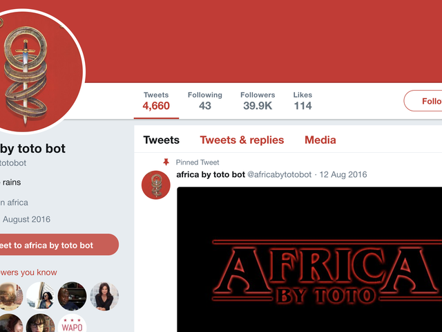 This Account Tweets the Lyrics to 'Africa' by Toto Over and Over Again