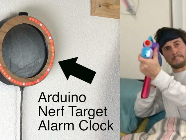 Build An Obnoxious Alarm Clock That Forces You To Shut It Off with a Shot From a Nerf Gun