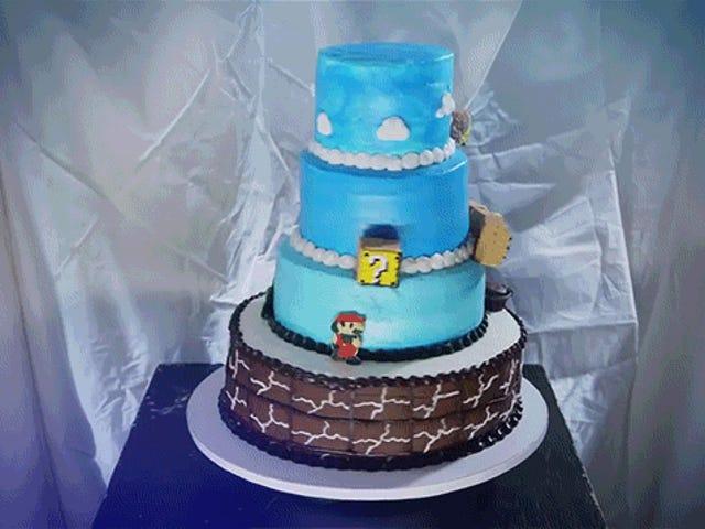 Kek berputar ini mencipta <i>Super Mario Bros.</i> dengan sempurna