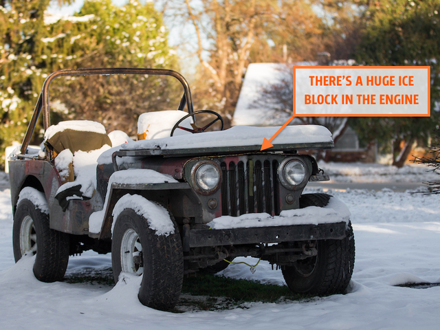 I'm Trying To Save My World War II Jeep Engine After Filling It With A Huge Ice Block