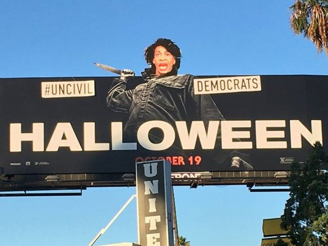 The Disrespect: GOP Street Artist Replaces Michael Myers With Maxine Waters on a Halloween Billboard