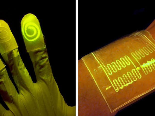These Crazy 'Living' Gloves Glow When You Touch Certain Chemicals