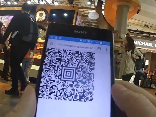 Ο χάκερ χτίζει μια γεννήτρια κώδικα QR που τον αφήνει σε φανταστικά σαλόνια αεροδρομίων