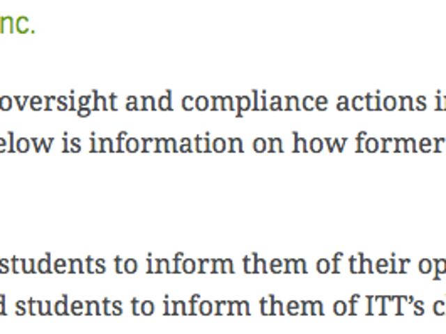 ITT Tech: Інформація про видачу студентських кредитів