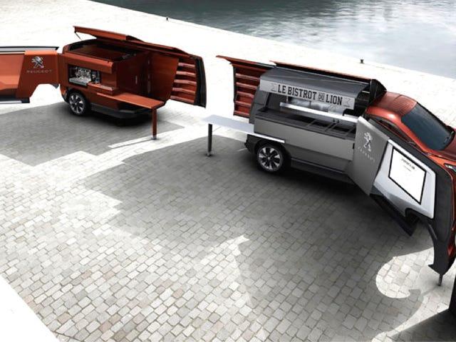 Peugeot'un Fütüristik Bir Gıda Kamyonunun Fikri Fantezi Katlanır Minibüs