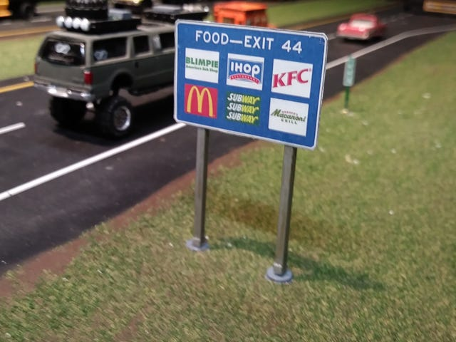 First completed highway sign