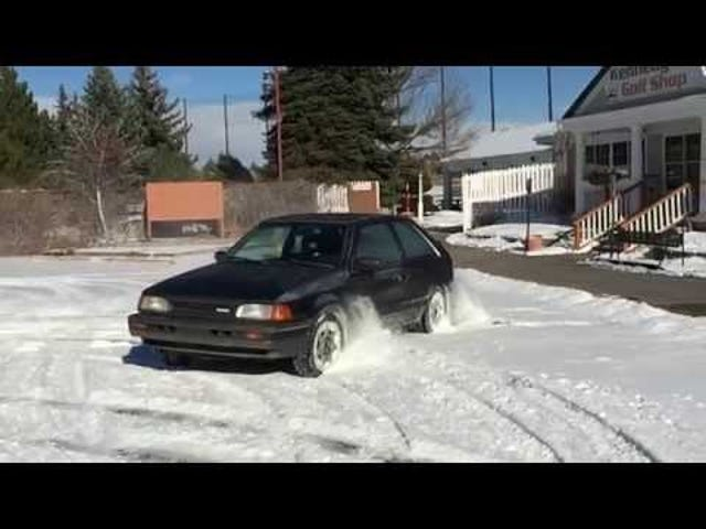 Did someone say Mazda 323 GTX slow-motion snow hoonage? Video from the weekend.