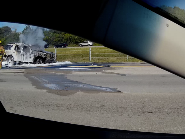 Dashcam Car Fire Remnants