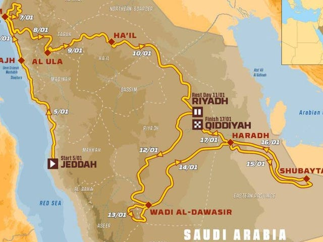 The Dakar Rally's 2020 Saudi Arabia Race Route And Entry List