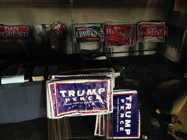 North Carolina GOP Building Gets Firebombed, Candidates Quick to Comment