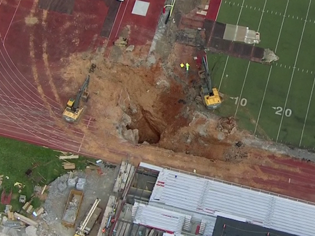 Sink hole found at college football stadium