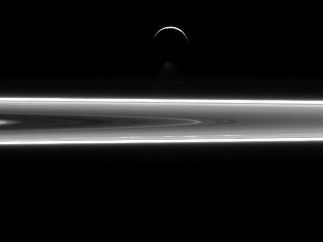 A Glorious New Cassini Image Shows Enceladus Floating Above Saturn's Rings
