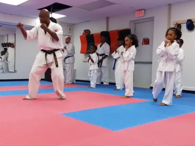 Man Tries to Kidnap Woman. Woman Runs In Black Karate Dojo. Attacker Follows. Things Don't Go Well