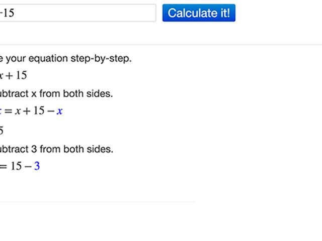 Mathpapa vous guide pas à pas dans les solutions d'algèbre