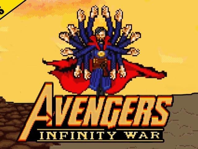 Avengers VS. Thanos battle in 16 bit style