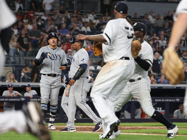 Benches Clear In Rays-Yankees Over Grown Men Arguing About Not Talking To Each Other