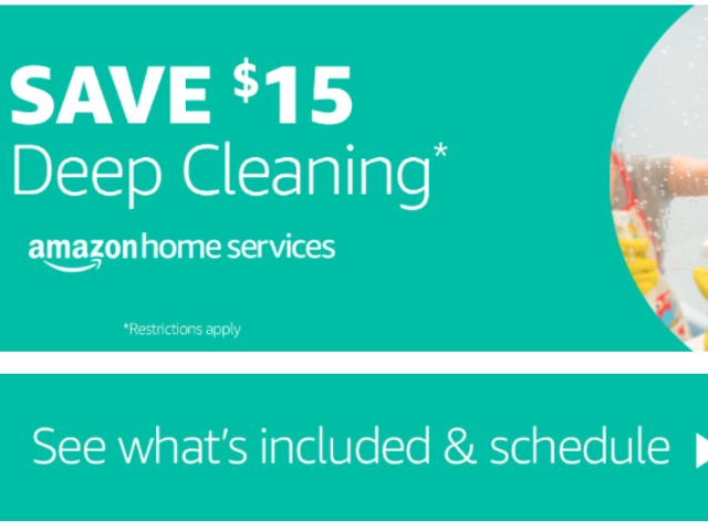 Save $15 When You Schedule a Deep Cleaning With Amazon
