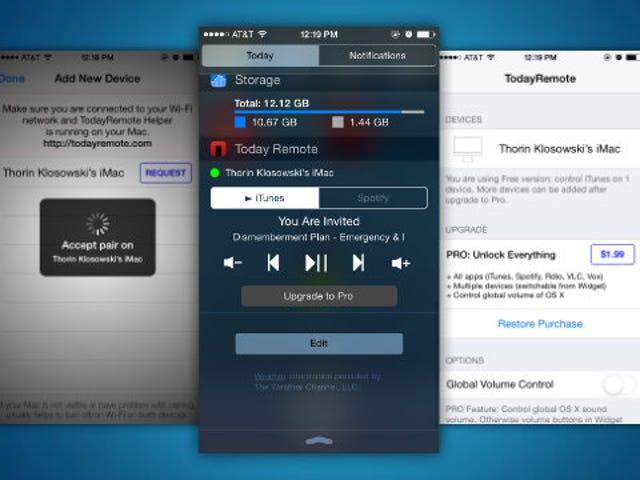 Kinokontrol ng TodayRemote ang Music ng iyong Mac mula sa Notification Center ng iOS