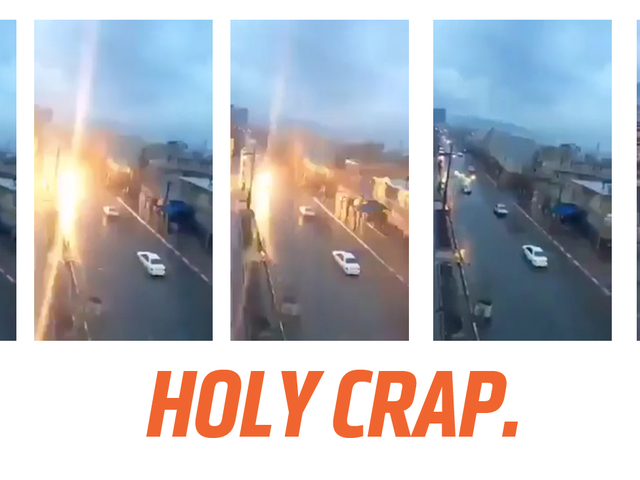 Watch This Moving Car Get Struck By Lightning As A Reminder Not To Piss Off Any Gods