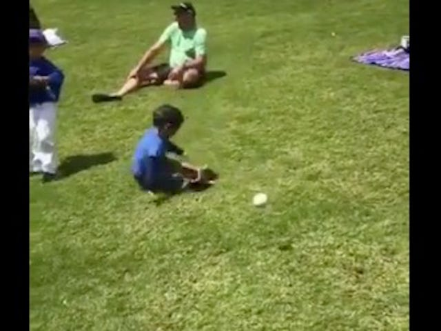 Tiny Baseball Fella Demonstrates Advanced, Noggin-Based Fielding Technique