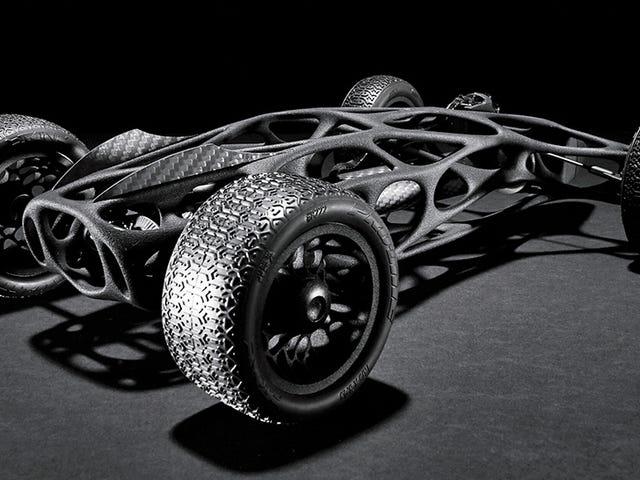 16-stopowa elastyczna taśma wzmacnia ten elegancki samochód RC z nadrukiem 3D