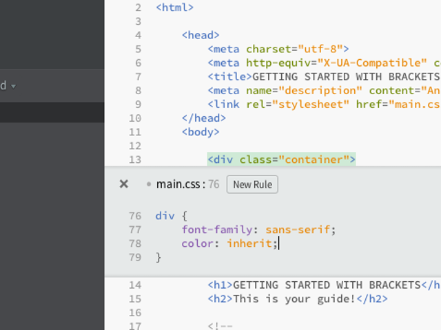 Adobe's Brackets is a Free Text Editor for Web Developers