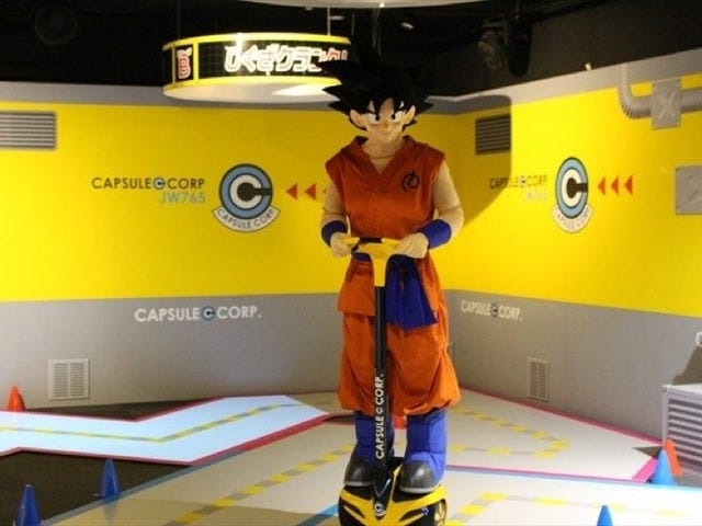 Dragon Ball's Goku Looking Silly on a Segway Knock-Off