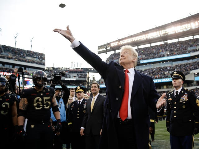 Normal Man Donald Trump Hilariously Fucks Up Army-Navy Coin Toss