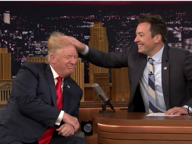 Jimmy Fallon Playfully Ruffled Donald Trump's Hair Like This Shit Is Funny