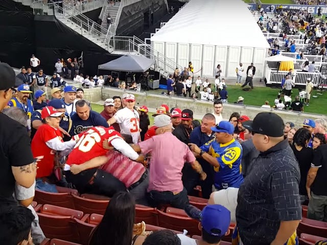 Chiefs Fans Viciously Brawl, Ignore Security At Rams Game