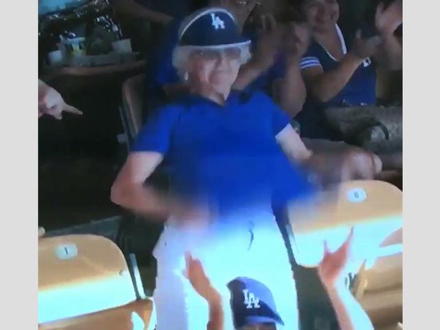 Flashin' Granny Flashes Dodger Stadium Via Videoboard