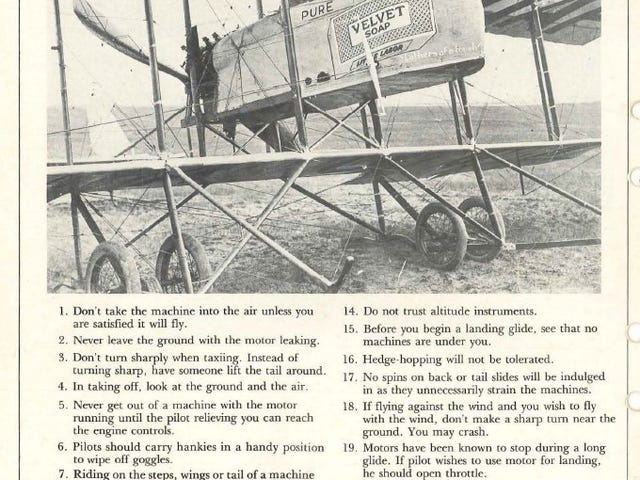 Flying regulations, circa 1920