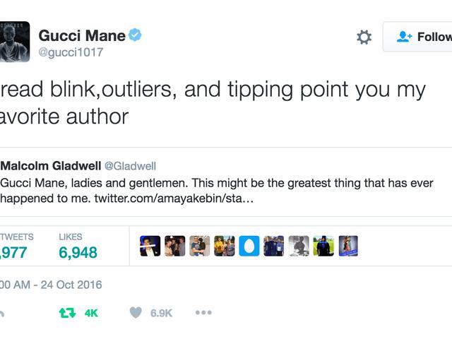 Le rappeur Gucci Mane à Malcolm Gladwell: 'You My Favorite Author'
