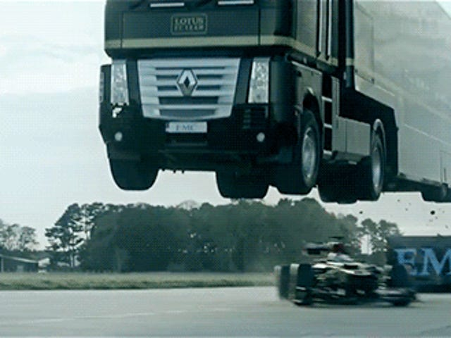 Insane video of a truck jumping over a Formula 1 car at full speed