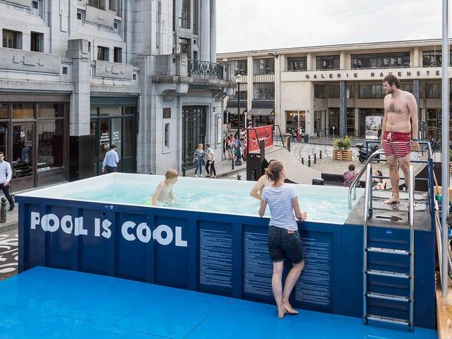브뤼셀 유일 야외 수영장에 여행, 쓰레기통에있다.