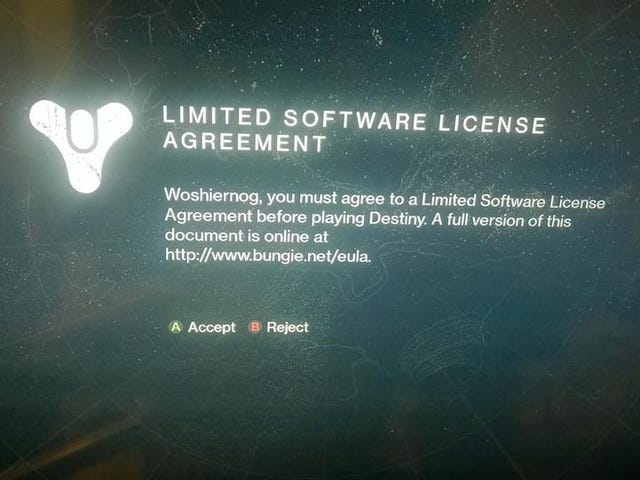 Isn't It a Bit Too Late For a Destiny EULA