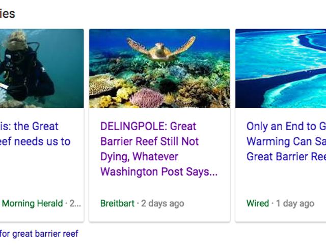 Google Top Stories Serves Breitbart Bullshit on Climate Science