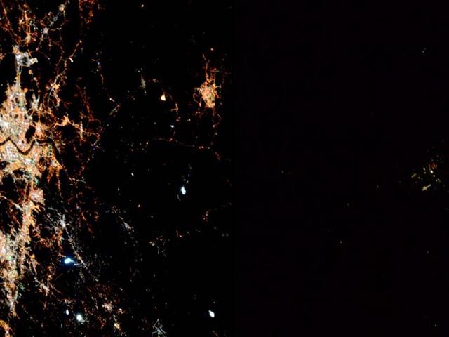 Corea del Norte vista desde el espacio casi no existe