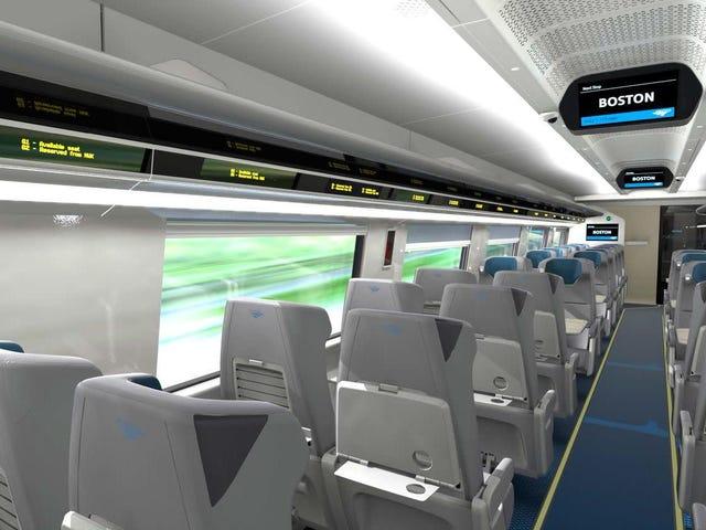 실물 모형은 상쾌하지만 친숙한 새로운 Amtrak Acela 인테리어를 보여줍니다