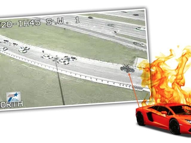 Carjacked Lamborghini τελειώνει το αυτοκίνητο Chase με τον εαυτό του στη φωτιά