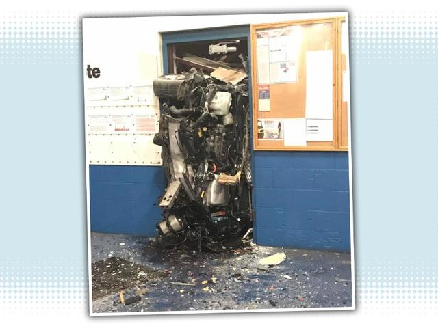 Prius Ends Up Wedged In Doorway