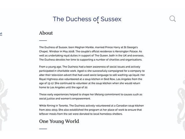 Meghan Markle의 Royal 'About'페이지는 그녀의 가장 중요한 업적을 언급하지 않습니다.