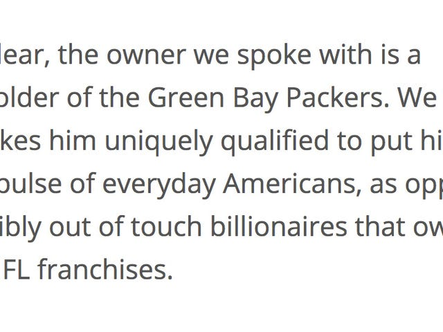 "Report: ""NFL Owner,"" Who Is Actually Just Some Packers Fan, Is Very Mad About Anthem Protests"