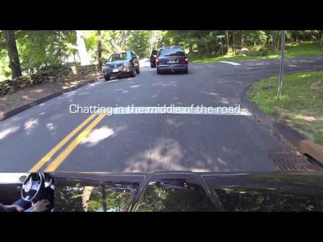 Fiat 500 Abarth drives River Bank Road[Connecticut]