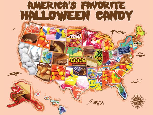Les bonbons d'Halloween les plus populaires vendus en ligne dans tous les États
