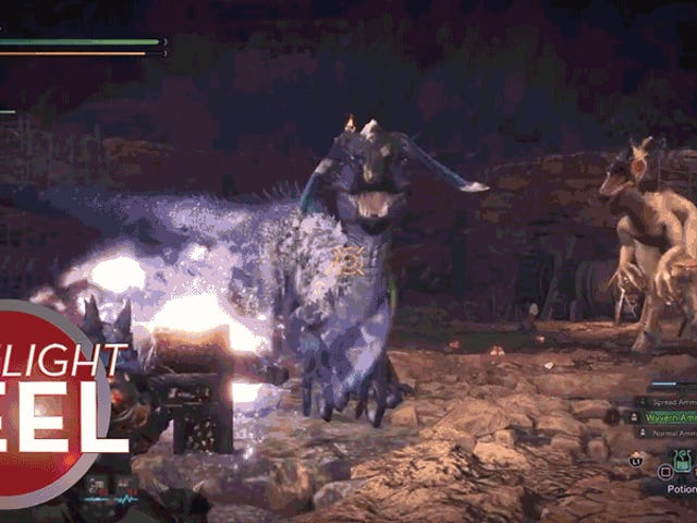 Monster Hunter Makes Perfectly-Timed Shot