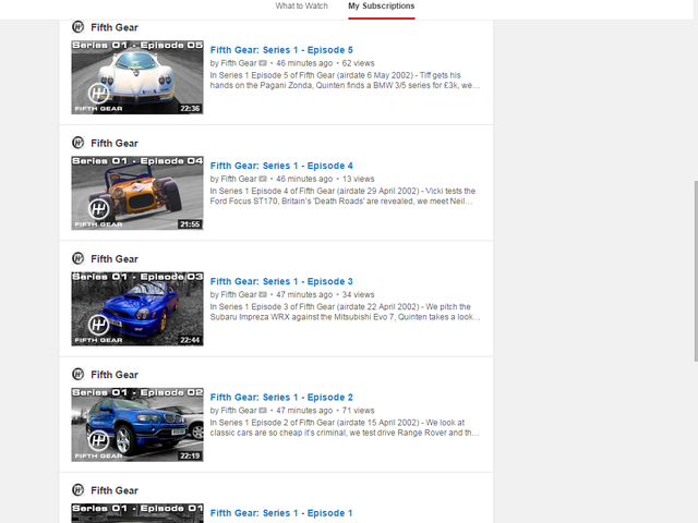 Fifth Gear just uploaded season 1 on Youtube